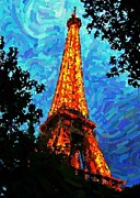 Pointillism Art - Eiffel Tower Impressionist by John Malone