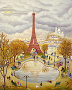 Parc Paintings - Eiffel Tower in Autumn by Colette Raker