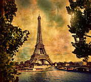 Vintage Eiffel Tower Metal Prints - Eiffel Tower in Paris France Metal Print by Michal Bednarek