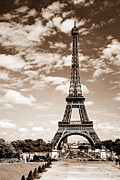 Sights Prints - Eiffel tower in sepia Print by Elena Elisseeva