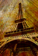 Man Made Structure Digital Art Prints - Eiffel Tower Print by Jack Zulli