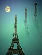 Joyce Dickens Digital Art Posters - Eiffel Tower Poster by Joyce Dickens