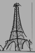 Paris Drawings Posters - Eiffel Tower Lines Poster by Robyn Saunders