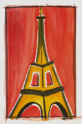 Paris Drawings Originals - Eiffel Tower Orange and Yellow by Robyn Saunders