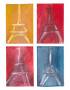 Yellow Pastels Originals - Eiffel Tower Paintings of 4 up by Robyn Saunders