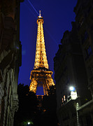 Metal Structure Digital Art Prints - Eiffel Tower Paris France at Night Print by Patricia Awapara