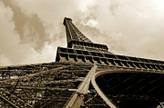 Metal Structure Digital Art Prints - Eiffel Tower Paris France Black and White Print by Patricia Awapara