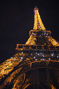 Metal Structure Digital Art Prints - Eiffel Tower Paris France Illuminated Print by Patricia Awapara