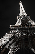 Metal Structure Digital Art Prints - Eiffel Tower Paris France Night lights Print by Patricia Awapara
