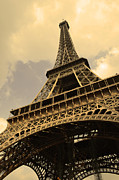 Man Made Structure Digital Art Prints - Eiffel Tower Paris France Sepia Print by Patricia Awapara