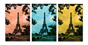 Yellow Bridge Digital Art Posters - Eiffel Tower Paris France Trio Poster by Patricia Awapara