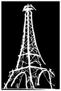 Black And White Paris Mixed Media Posters - Eiffel Tower Paris France White on Black Poster by Robyn Saunders