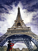 Watercolor By Irina Prints - Eiffel Tower Paris Print by Irina Sztukowski