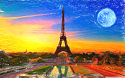 Field. Cloud Paintings - Eiffel tower Paris by MotionAge Art and Design - Ahmet Asar