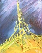 Eiffel Tower Paris Night Print by PainterArtist FIN