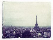 Linders Posters - Eiffel Tower Paris Polaroid transfer Poster by Jane Linders
