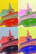 Metal Structure Digital Art Prints - Eiffel Tower - Pop art Print by Patricia Awapara