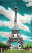 Landmark Pastels Prints - Eiffel Tower Print by Popokino Art