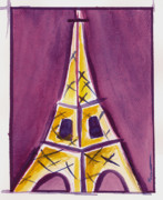 Europe Painting Acrylic Prints - Eiffel Tower Purple and Yellow Acrylic Print by Robyn Saunders