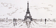 Rainy Day Posters - Eiffel Tower Rainy Day Poster by Kevin Croitz