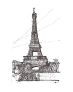 Eiffel Tower Drawings Metal Prints - Eiffel Tower Metal Print by Ron Torborg