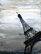Black And White Paris Mixed Media Posters - Eiffel Tower Silhouette Poster by Holly Anderson