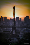 Old Buildings Mixed Media Prints - Eiffel Tower Sunset Print by Debra     Vatalaro