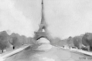 Monochromatic Paintings - Eiffel Tower Watercolor Painting - Black and White by Beverly Brown Prints