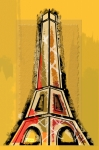 Paris Drawings Posters - Eiffel Tower Yellow and Red Poster by Robyn Saunders