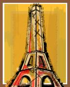 Travel Mixed Media Prints - Eiffel Tower Yellow Black and Red Print by Robyn Saunders
