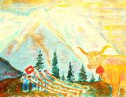 Switzerland Painting Originals - Eiger Mountain above Grindelwald Switzerland 1 by Richard W Linford