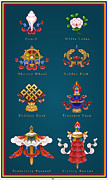 Tibetan Buddhism Digital Art Acrylic Prints - Eight Auspicious Symbols 2 x 4 Acrylic Print by Fred Van der Zee