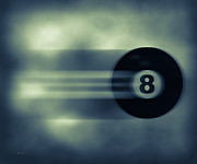 Bar Decor Posters - Eight Ball In Motion Poster by Bob Orsillo