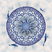 Carp Digital Art - Eight-Koi Lotus Mandala by Deborah Smith