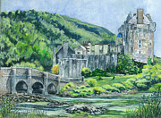 Grey Drawings Framed Prints - Eilean Donan Castle in Scotland ii Framed Print by Carol Wisniewski