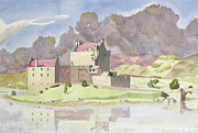Brick Building Painting Framed Prints - Eilean Donan Framed Print by David Herbert