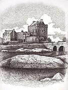 Bridge Drawings Originals - Eileen Donan Castle in Scotland by Tanya Crum