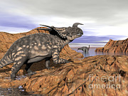Three Dimensional Posters - Einiosaurus Dinosaur On A Rock Poster by Elena Duvernay