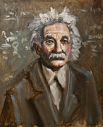 Sketch Posters - Einstein Oil Sketch Poster by Mark Zelmer