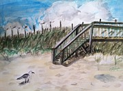 Sea Oats Drawings Prints - Ejoying the view  Print by Asuncion Purnell