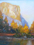 El Capitan Painting Prints - El Capitan Light Print by Carolyn Jarvis