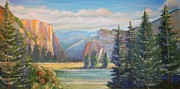 El Capitan Painting Prints - El Capitan  Yosemite National Park Print by Remegio Onia