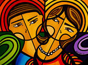 Engagement Painting Prints - El Encuentro Print by Mary Tere Perez