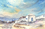 Canary Drawings Prints - El Golfo in Lanzarote 01 Print by Miki De Goodaboom