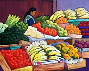 Mexican Pastels Posters - El Mercado Poster by Candy Mayer