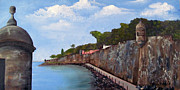 Old San Juan Painting Metal Prints - El Morro Metal Print by Gloria E Barreto-Rodriguez