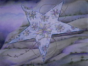 Star Drawings Framed Prints - El Paso Star Framed Print by Lucia Parga-Navarro