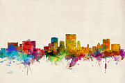 States Prints - El Paso Texas Skyline Print by Michael Tompsett