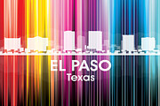 Iconic Design Mixed Media Posters - El Paso TX 2 Poster by Angelina Vick