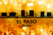 Iconic Design Mixed Media Prints - El Paso TX 3 Print by Angelina Vick